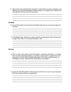 The Canterbury Tales Prologue Reading Guide and Answer Key