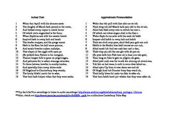 The Canterbury Tales: Reciting Lines 1-18