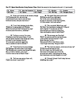 The Canterbury Tales- Test on Four Tales and Answer Key