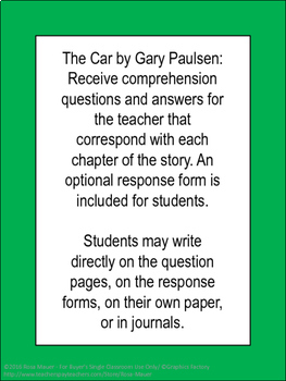 The Car Gary Paulsen Book Literacy Unit