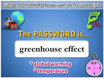 The Carbon Cycle - Guess the Password Terminology Review Game {Editable}