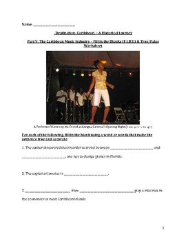 The Caribbean Music Industry – Fill in the Blank and True/False Worksheet