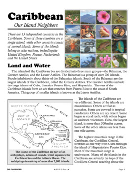 """""""The Caribbean: Our Island Neighbors"""" Informational Complex Text and Questions"""