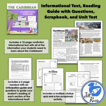 """""""The Caribbean: Our Island Neighbors"""" Complete Unit with Complex Text, & Quiz"""