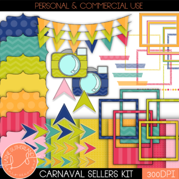 The Carnaval TpT Seller's Bundle- Digital Paper, Clipart,
