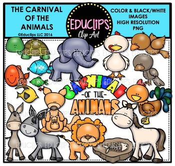 The Carnival Of The Animals Clip Art Bundle  {Educlips Clipart}