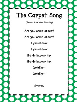 The Carpet Song - green polka dot
