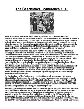 The Casablanca Conference 1943 Article with Summary Assignment