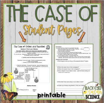 The Case of Action and Reaction (Balloon Rockets) Newton's 3rd Law NGSS MS-PS2-1