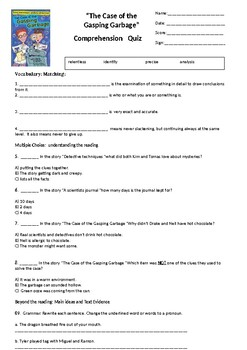 The Case of the Gasping Garbage Reading Street Comprehension Quiz 4th grade G4