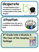 ReadyGen The Case of the Gasping Garbage Vocabulary 3rd grade Unit 1 Module A