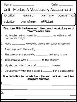 Ready Gen: Unit 1 Module A Vocabulary Assessment