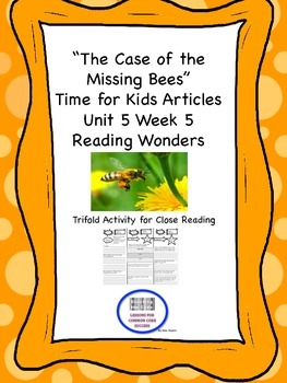 """""""The Case of the Missing Bees"""" Trifold Activity Reading Wonders 5th Grade"""