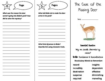 The Case of the Missing Deer Trifold - Journeys 5th Gr Unit 6 Wk 4 (2014, 2017)