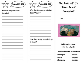 The Case of the Three Bears' Breakfast Trifold - Storytown 3rd Grade Unit 2 Wk 5