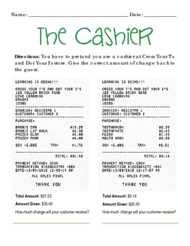 """The Cashier"" Advanced Level Practice with Change"