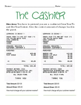 """""""The Cashier"""" Practice with Making Change (Whole Dollar Amounts)"""