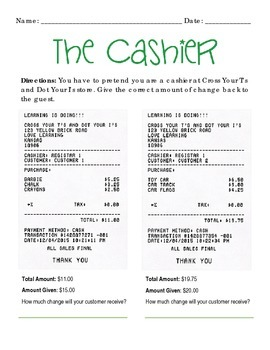 """The Cashier"" Practice with Making Change (Whole Dollar/Mixed Change Amounts)"