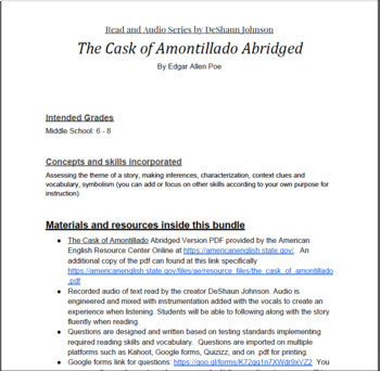 Last Minute Lessons: Read and Audio Series The Cask of Amontillado by DeShaun J.