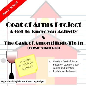 Back to School ELA Activity Coat of Arms + Cask of Amontillado (Edgar Allan  Poe)