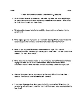 The Cask of Amontillado Discussion Questions