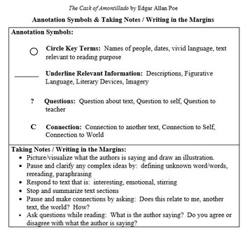 Cask of Amontillado - AVID - Close Reading - Cornell Notes & Mark/Annotate Text