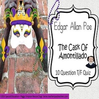 The Cask of Amontillado Edgar Allan Poe Quiz Special Educa