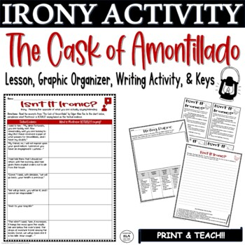 The Cask of Amontillado Irony Activity Graphic Organizer w/ Short Response
