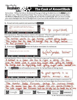 The Cask of Amontillado - Poe - Vocabulary Worksheet - CCSS ELA 7-12 - QR codes