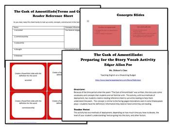 The Cask of Amontillado Preparation Vocab w Task Cards (Edgar Allan Poe)