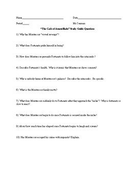 """The Cask of Amontillado"""" Study Guide Questions"""