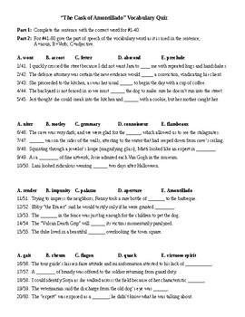 The Cask of Amontillado Vocab Quiz & KEY