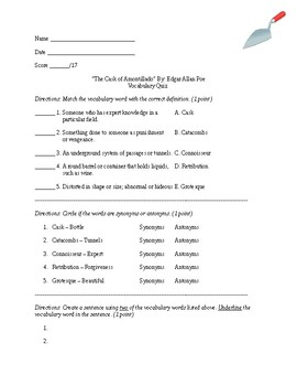 The Cask of Amontillado Vocabulary Quiz (Adapted)