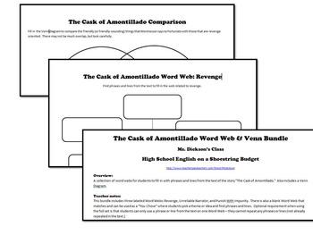The Cask of Amontillado Word Webs plus Venn (Edgar Allan Poe)