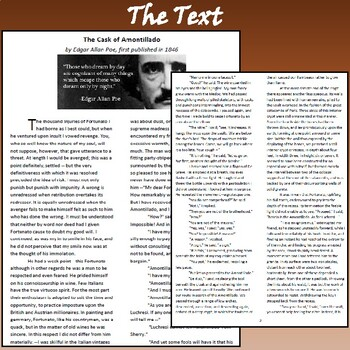 """The Cask of Amontillado"" by Edgar Allan Poe: Text, Reading Questions, & Key"