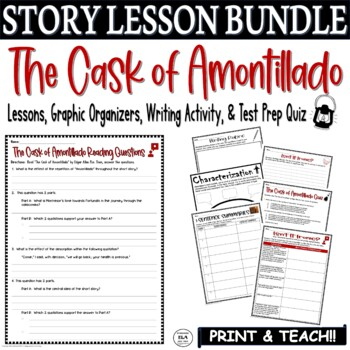the cask of amontillado multiple choice teaching resources