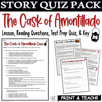 The Cask of Amontillado Short Story by Poe: Common Core ELA Test Prep Quiz