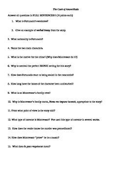 """The Cask of Amontillado"" quiz with vocabulary"