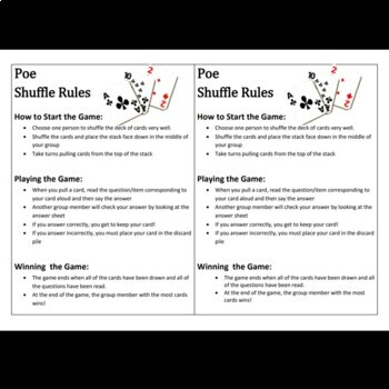 """""""The Cask of Amontillado"""" Review Game: Poe Shuffle"""
