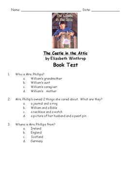 The Castle in the Attic by Elizabeth Winthrop book test and answer key