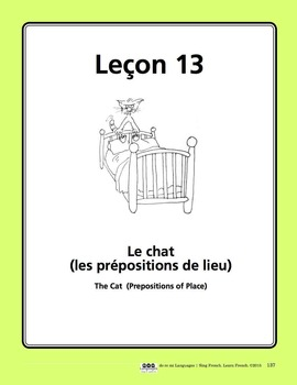 French Prepositions Song and Writing Activities
