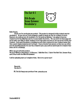 The Cat and I Science Vocabulary Program
