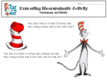 The Cat in the Hat - Math Measurement Activity