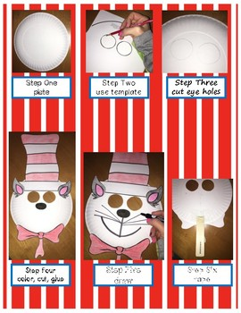 The Cat in the Hat Paper Plate Mask Dr. Seuss Read Across America Week