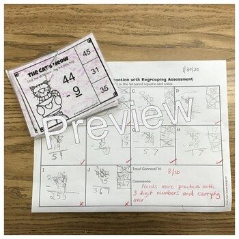 The Cat's Meow Valentine's Theme Math Assessment Regrouping