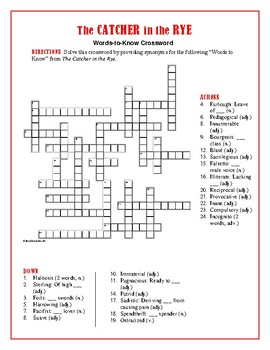The Catcher in the Rye 25 Words-to-Know Crossword—Use w/Bookmarks Plus!