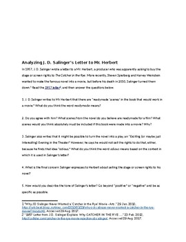 The Catcher in the Rye: Analyzing J.D. Salinger's Letter re Stage/Screen Rights