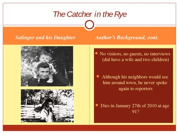 The Catcher in the Rye Author and Setting Power Point