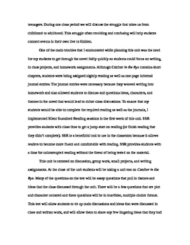 The Catcher in the Rye ~ COMMON CORE Unit Plan (31 pages)