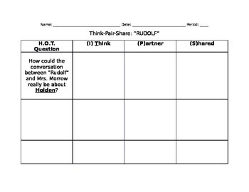 The Catcher in the Rye Chapter 26 Classwork Handout